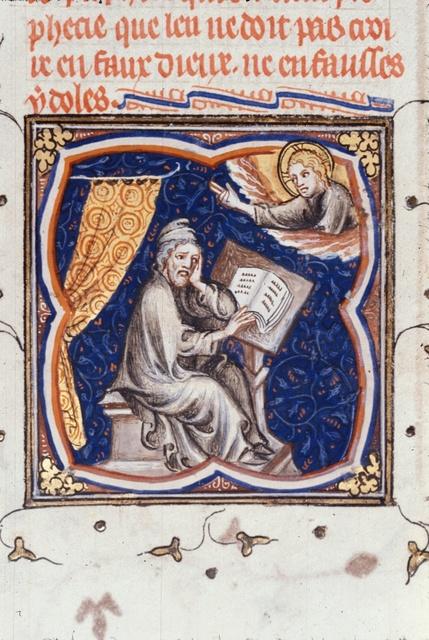 Ezekiel reading from BL Royal 17 E VII, f. 77