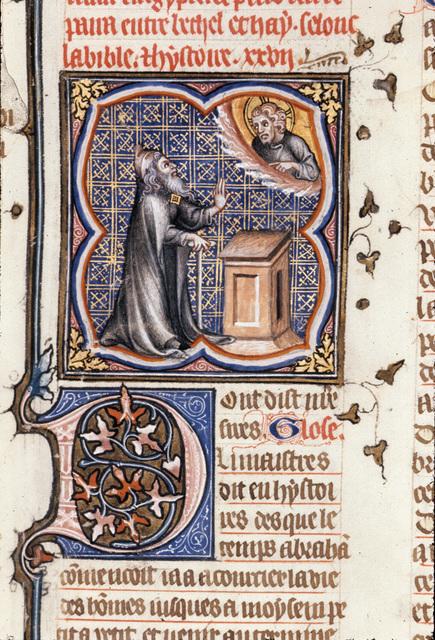 God calling Abraham from BL Royal 17 E VII, f. 16