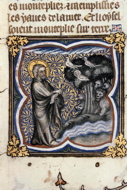 God creating birds and bees from BL Royal 17 E VII, f. 5v