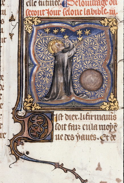 God creating the skies from BL Royal 17 E VII, f. 3v