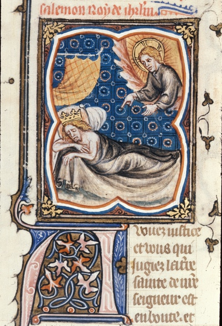 God speaking to Solomon from BL Royal 17 E VII, f. 16