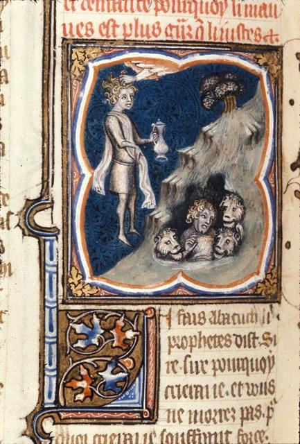 Habbakuk and Daniel from BL Royal 17 E VII, f. 107v