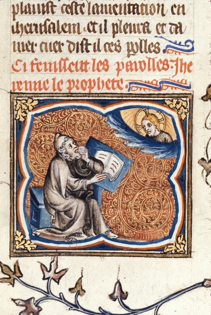 Jeremiah writing from BL Royal 17 E VII, f. 73