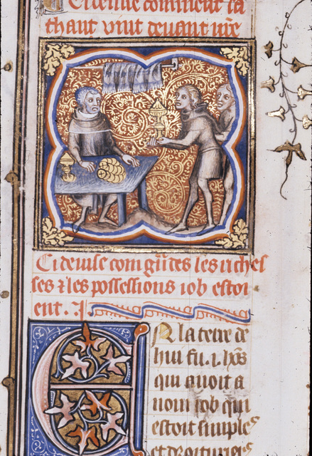 Job being served by his sons from BL Royal 17 E VII, f. 197