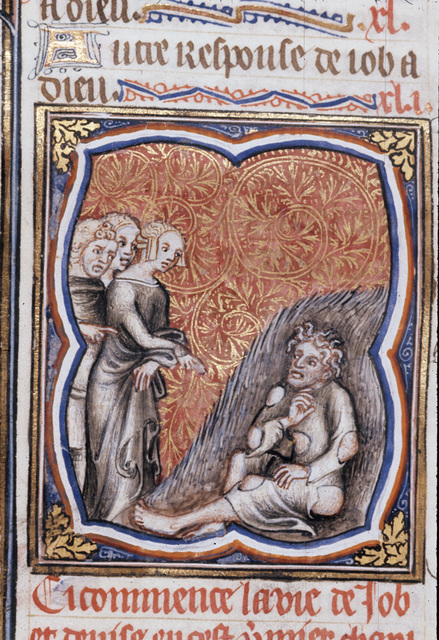 Job, his wife and friends from BL Royal 17 E VII, f. 186v