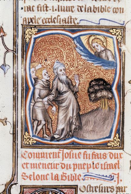Joshua bidden to cross the Jordan from BL Royal 17 E VII, f. 104v
