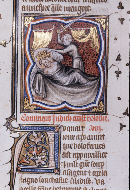Judith slaying Holofernes from BL Royal 17 E VII, f. 217