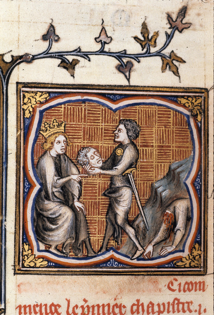 King receiving head from body. from BL Royal 17 E VII, f. 113v