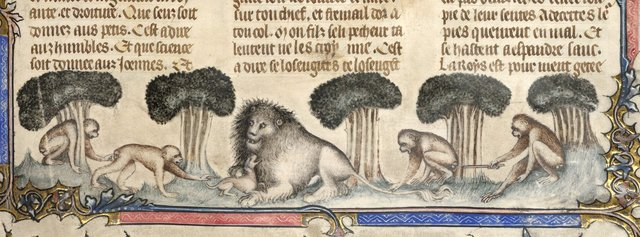Lion, dog and four apes from BL Royal 17 E VII, f. 1