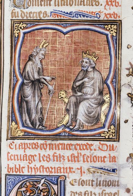 Moses before Pharoah from BL Royal 17 E VII, f. 41