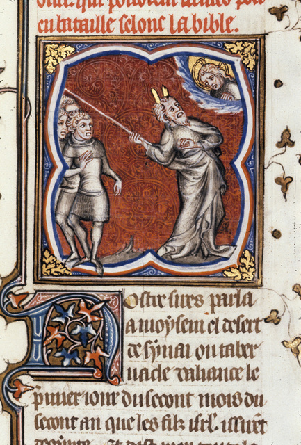 Moses bidden to number the people from BL Royal 17 E VII, f. 74