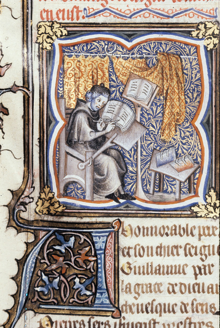 Peter Comestor at work from BL Royal 17 E VII, f. 2v