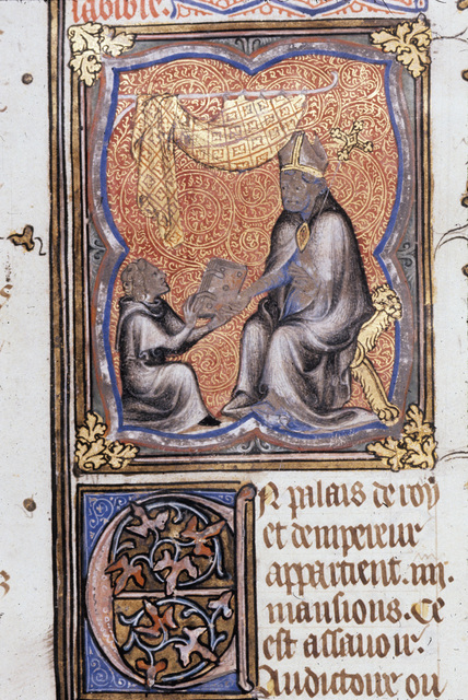 Peter Comestor giving his book from BL Royal 17 E VII, f. 2v