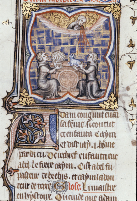 Sacrifices of Cain and Abel from BL Royal 17 E VII, f. 9