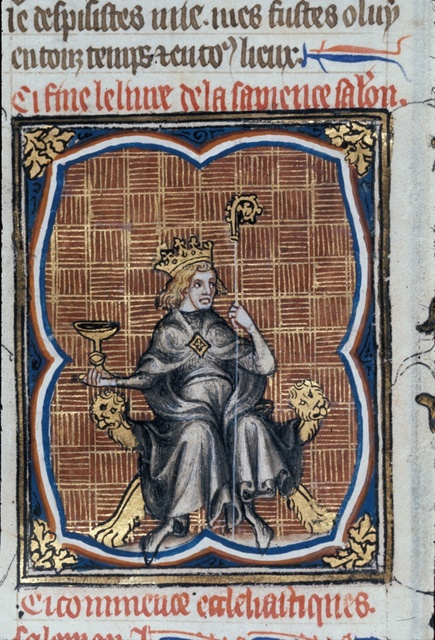 Solomon enthroned from BL Royal 17 E VII, f. 21