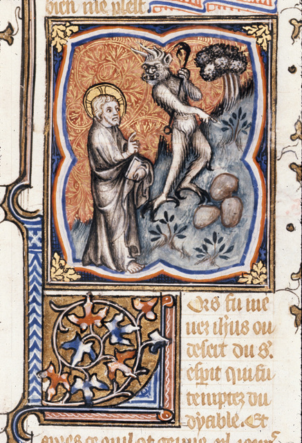 Temptation of Christ from BL Royal 17 E VII, f. 135