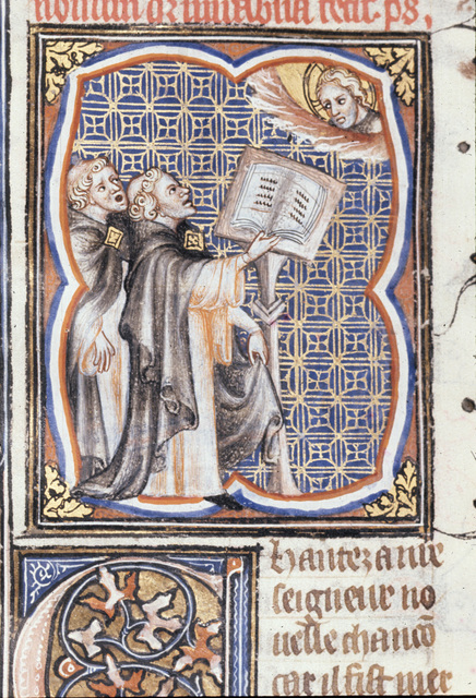 Two singers at a lectern from BL Royal 17 E VII, f. 250