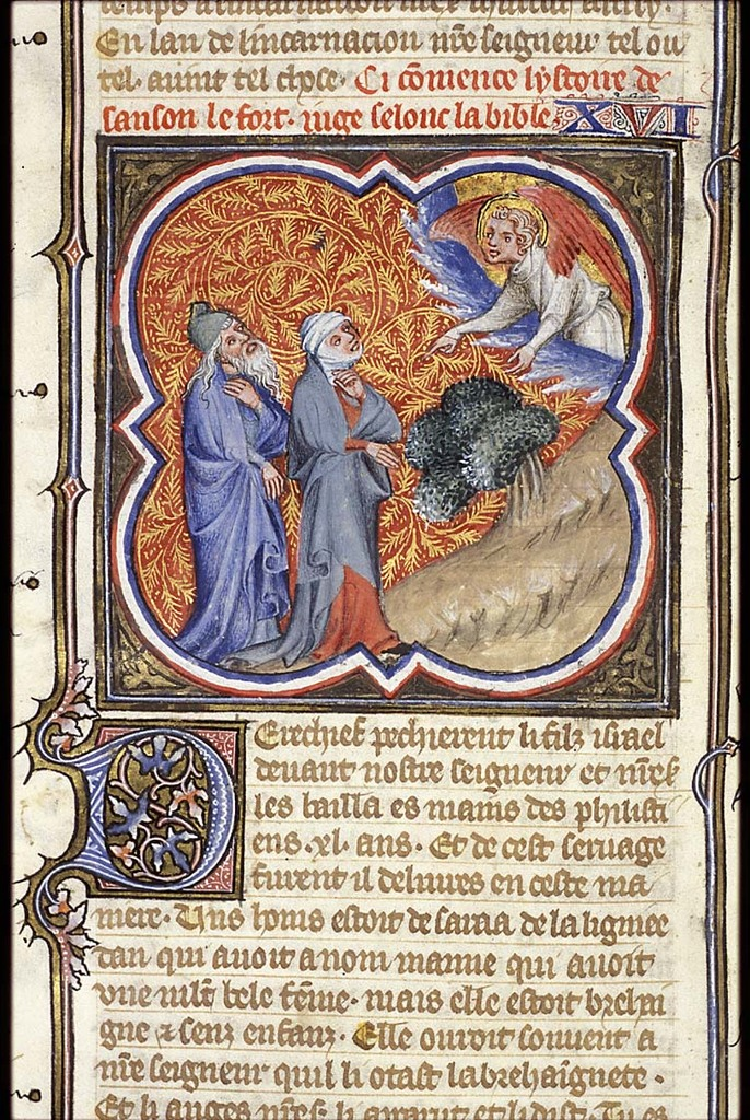 An angel announces the birth of Samson to Manoah and his wife