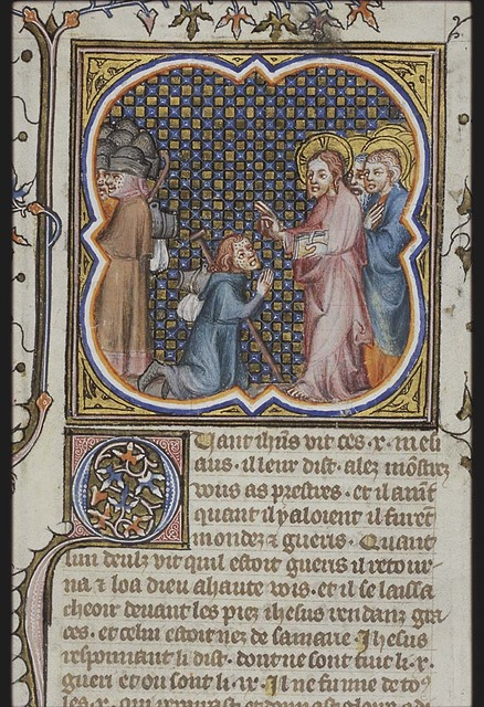Christ and the ten lepers; one leper, a Samaritan, sent to the priest by Christ, returns and kneels before him