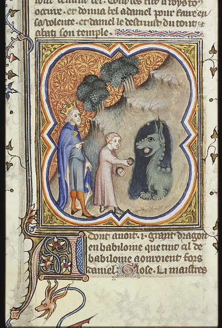 Daniel gives food to the dragon; King Cyrus looking on