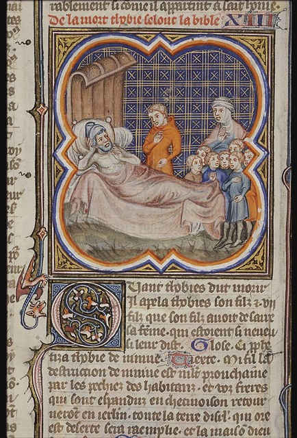 Death of Tobit: on his deathbed he speaks to Tobias and his seven sons