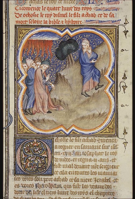Elijah and the messengers of King Ahaziah; when they reach Elijah, fire comes down and kills the officer and his fifty men