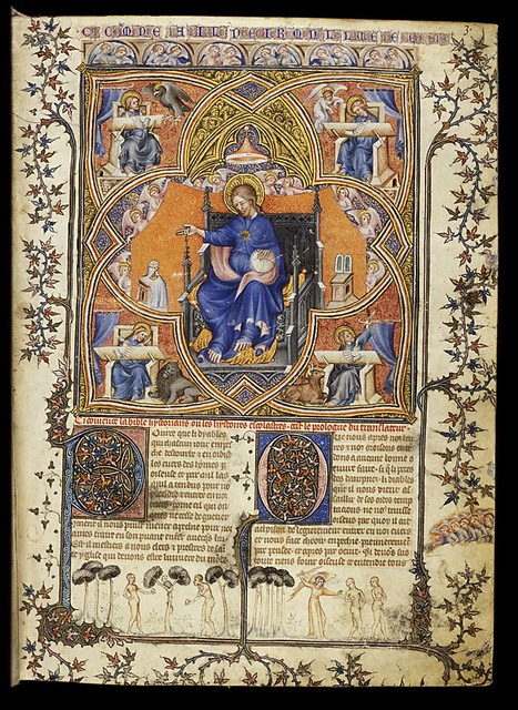God the Father enthroned, surrounded by angels and the four evangelists with their symbols