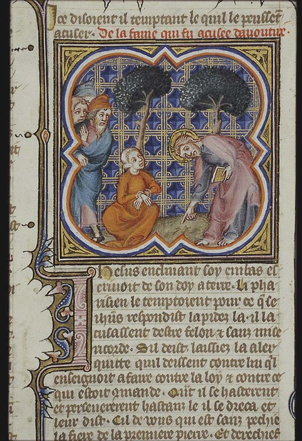 Pharisees bring a woman accused of adultery before Christ; Christ writes on the ground