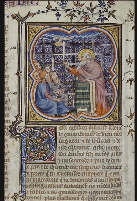 St. Paul preaching; Holy Spirit as a dove