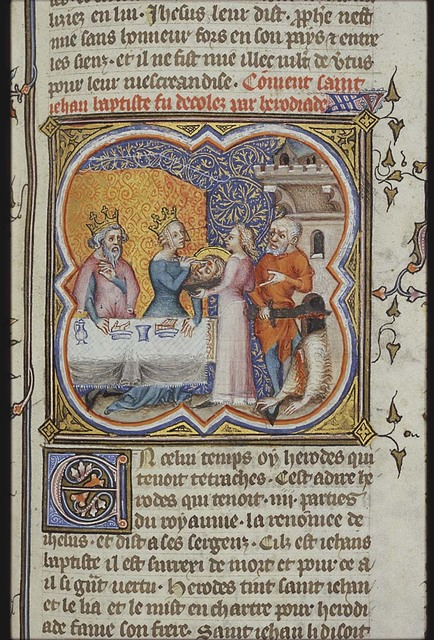 The beheading of St. John the Baptist; Salome offers the head to her mother who cuts the forehead
