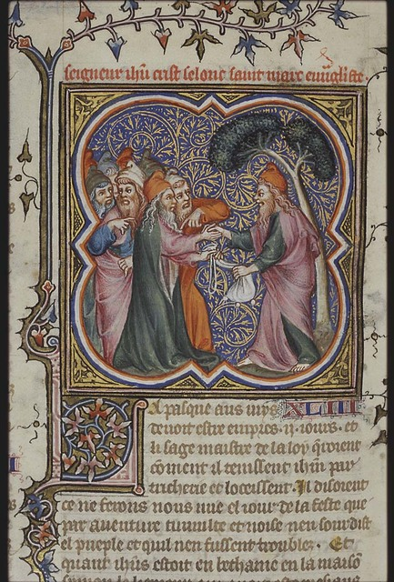 The betrayal of Christ: as a reward Judas receives pieces of silver from the chief priests