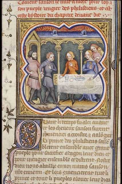The blind Samson is called out of prison to entertain the feasting Philistines