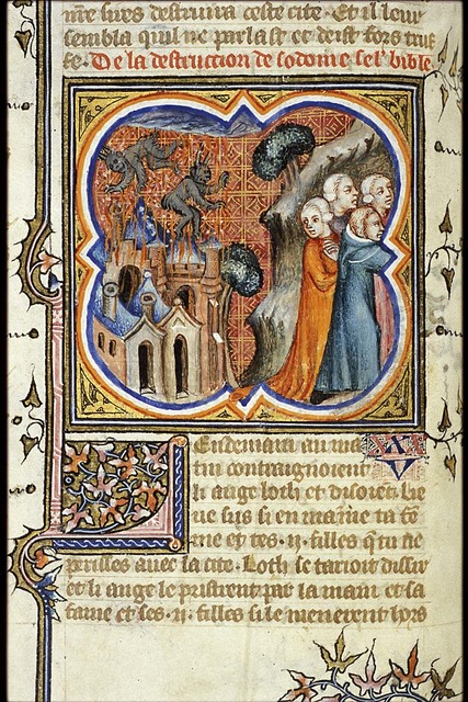 The destruction of Sodom; Lot's flight, his wife turned into a pillar of salt