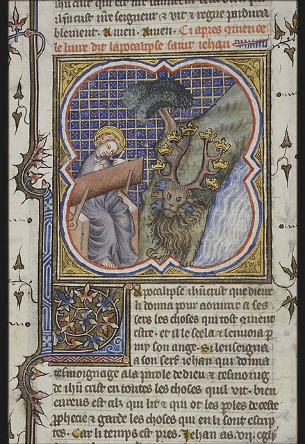 The Evangelist St. John and his vision of the leopard-like beast with seven heads that comes out of the sea