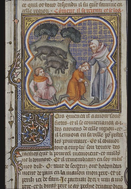 The parable of the prodigal son: he tends the swine and eats from their trough; the prodigal son kneels before his father who takes him in his arms