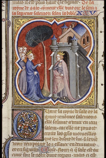 The queen of Sheba before Solomon; testing him with questions
