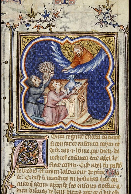 The sacrifices of Cain and Abel: Abel offers a lamb, Cain a sheaf of corn