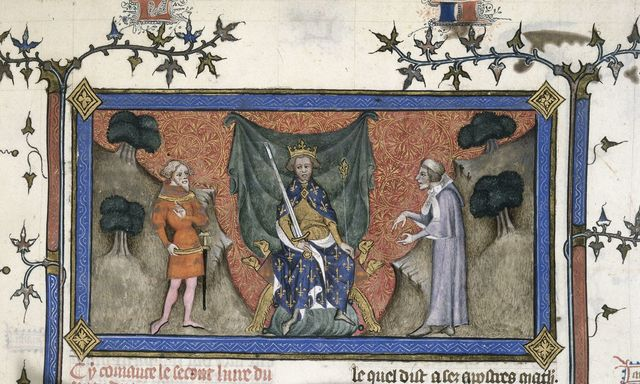 Debate between a clerk and a knight from BL Royal 19 C IV, f. 154