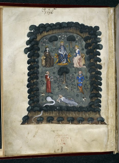 Debate between a clerk and a knight from BL Royal 19 C IV, f. 1v