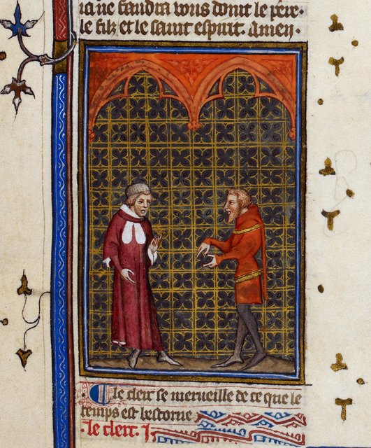 Debate between a clerk and a knight from BL Royal 19 C IV, f. 6