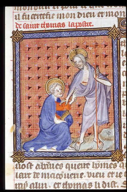 Christ and Thomas from BL Royal 19 B XVII, f. 18v