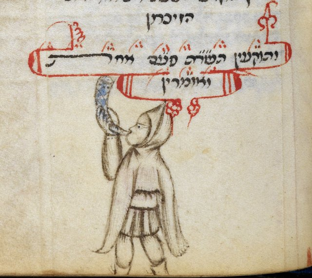 Blowing the shofar from BL Add 26968, f. 244