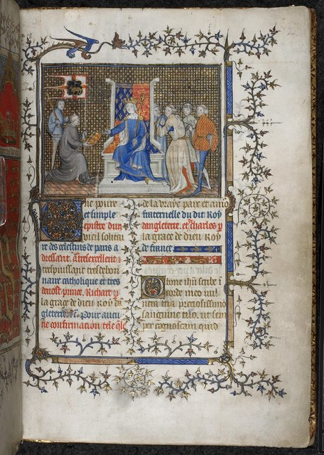 Richard II and Philippe de Mézières from BL Royal 20 B VI, f. 2