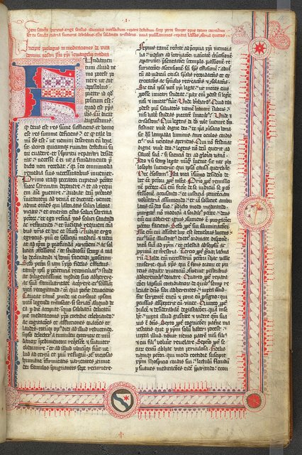 Puzzle initial and three-sided border from BL Arundel 103, f. 4