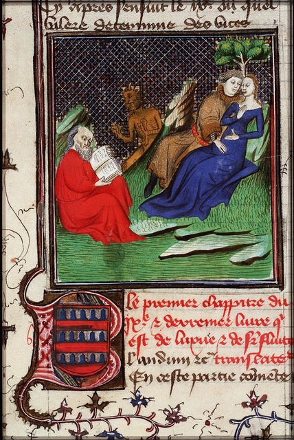 Luxury and Lust: a couple of lovers; an old man reading, approached by a devil