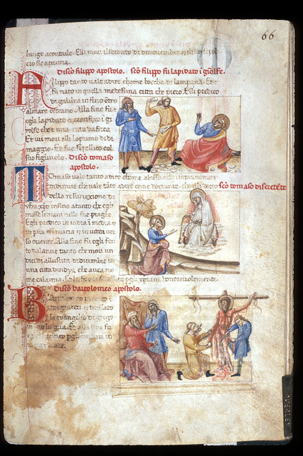 Philip, Thomas, and Bartholemew from BL YT 28, f. 66