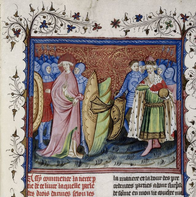 Emperor, bishop, and soldiers from BL Harley 4605, f. 71