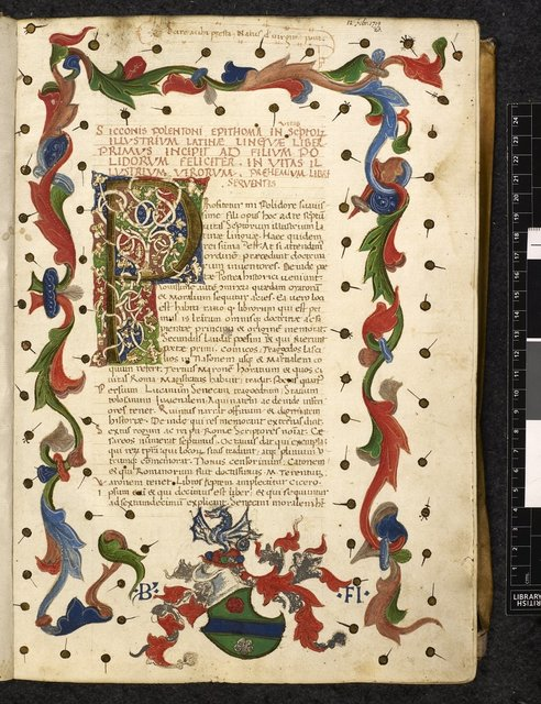 Full border and white vine initial from BL Harley 4769, f. 1