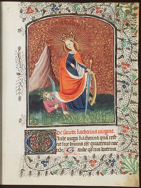 St. Catherine of Alexandria holding a book and a sword, with Emperor Maxentius at her feet