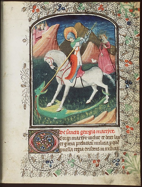 St. George on horseback fighting the dragon; the princess nearby with a dog(?); the king and queen watching the scene from the city-walls